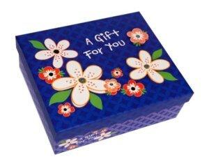 коробка синяя в цветочек для подарка с бабочками