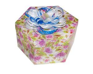 коробка шестигранник с бабочками