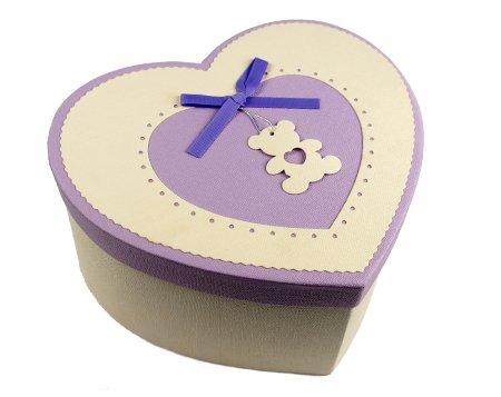 бежево-сиреневая коробка для бабочки сердце